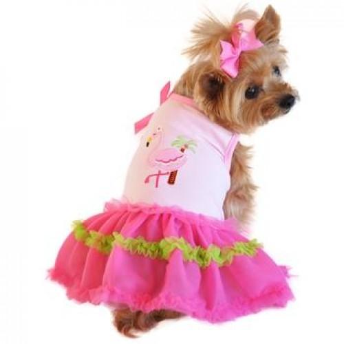 Flamingo and Palm Tank Designer Dog Dress