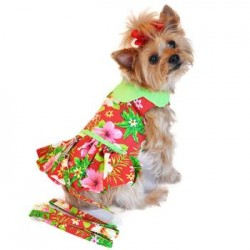 Hawaiian Red Hibiscus Designer Dog Dress
