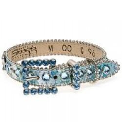 BB Simon Dog Collar - Aqua Blue with Aquamarine Crystals