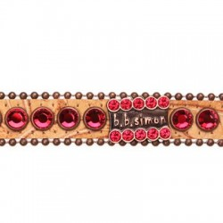 BB Simon Dog Collar - Leather with Light Siam Crystals