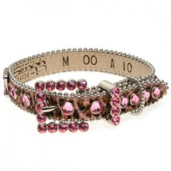 BB Simon Dog Collar - Pink Animal Print with Rose Crystals