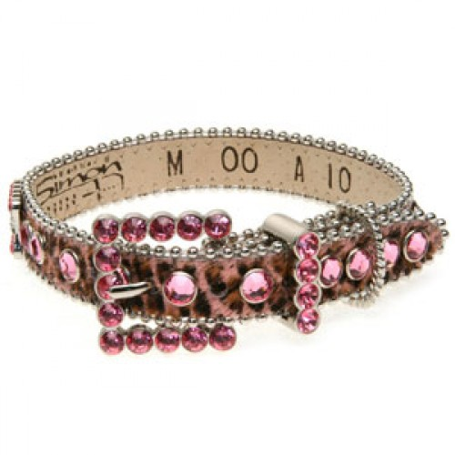 BB Simon Dog Collar - Pink Animal Print with Rose Crystals