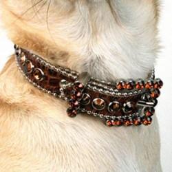 BB Simon Dog Collar - Smoked Topaz with Smoked Topaz Crystals