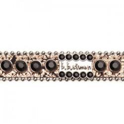 BB Simon Dog Collar - Tan Crackled with Jet Black Crystals