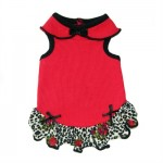 Carmen Dog Dress - Red with Leopard Wool Crepe Ruffle