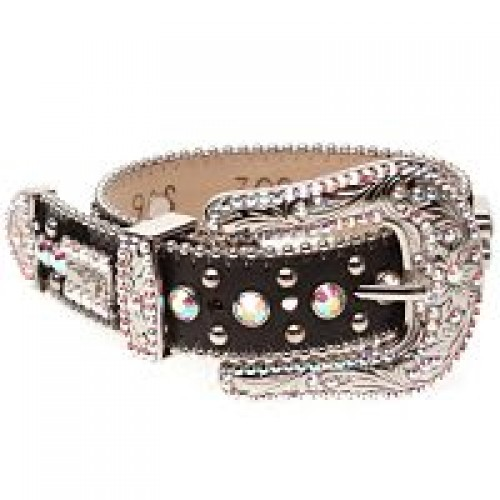 BB Simon Dog Collar - Black with Large Buckle and Crystals