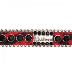 BB Simon Dog Collar - Red with Jet Black Crystals