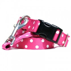 Betsy Polka Dot Collar & Lead - Pink