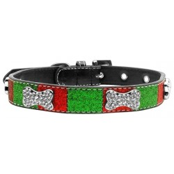Christmas Crystal Bone Dog Collar