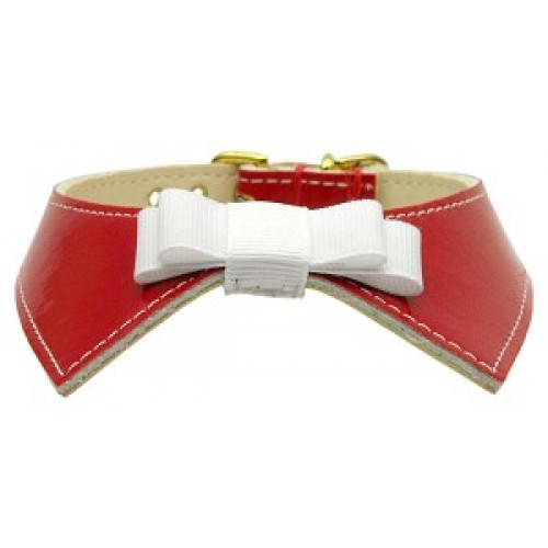 Shiny Patent Dog Collar with Ribbon Bow & Matching Leash!