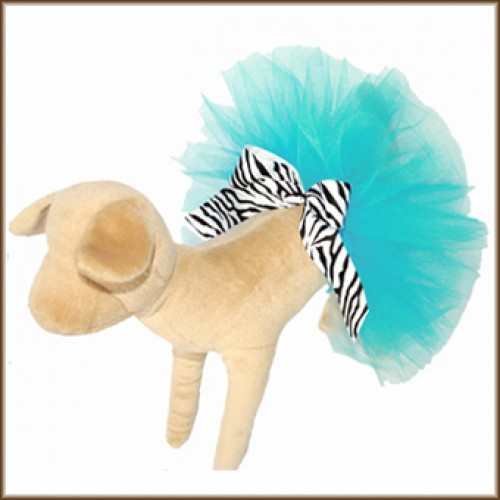 Classic Turquoise Tutu for Dogs with Zebra Striped Bow