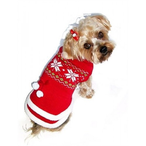 Fair Isle Red Dog Sweater Dress