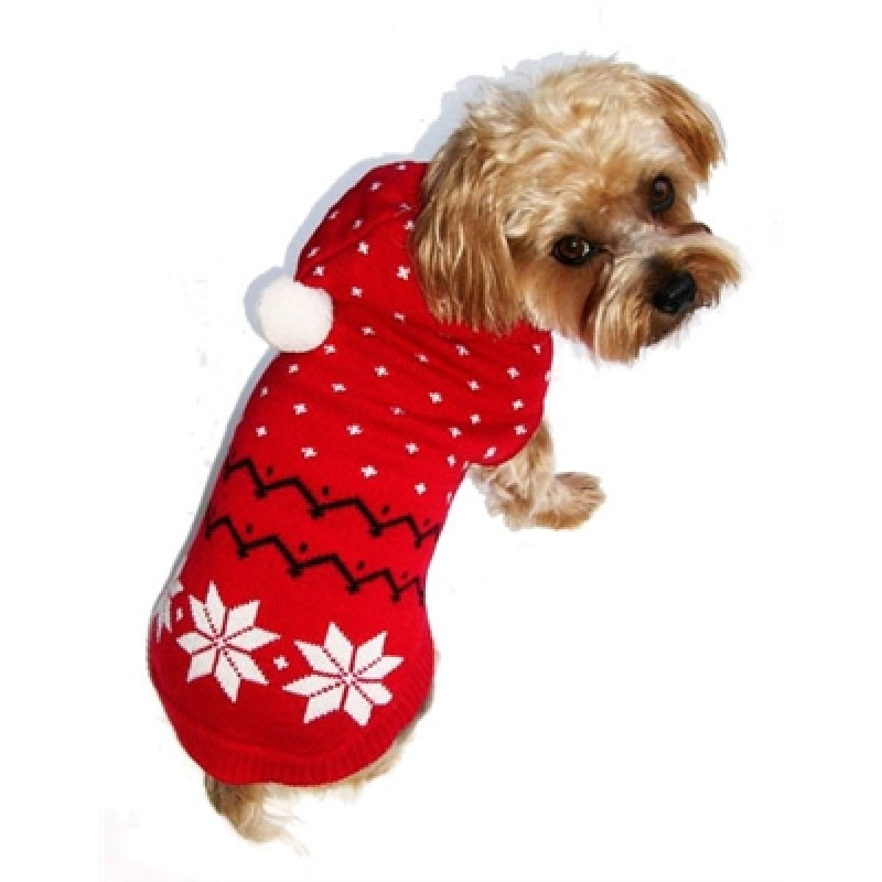 Fair Isle Red Snowflake Hoodie Dog Sweater