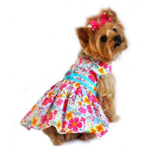 Fiesta Floral Hot Pink and Turquoise Dress