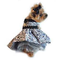 Floral Black and White Doggy Dress