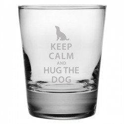 Double Old Fashioned Glasses - Keep Calm and Hug the Dog - Set of 4