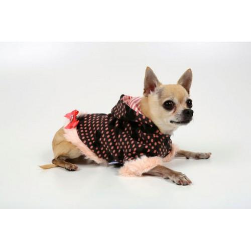 Gray Lightweight Hoodie W/Baby Pink Ribbon Fur Trim