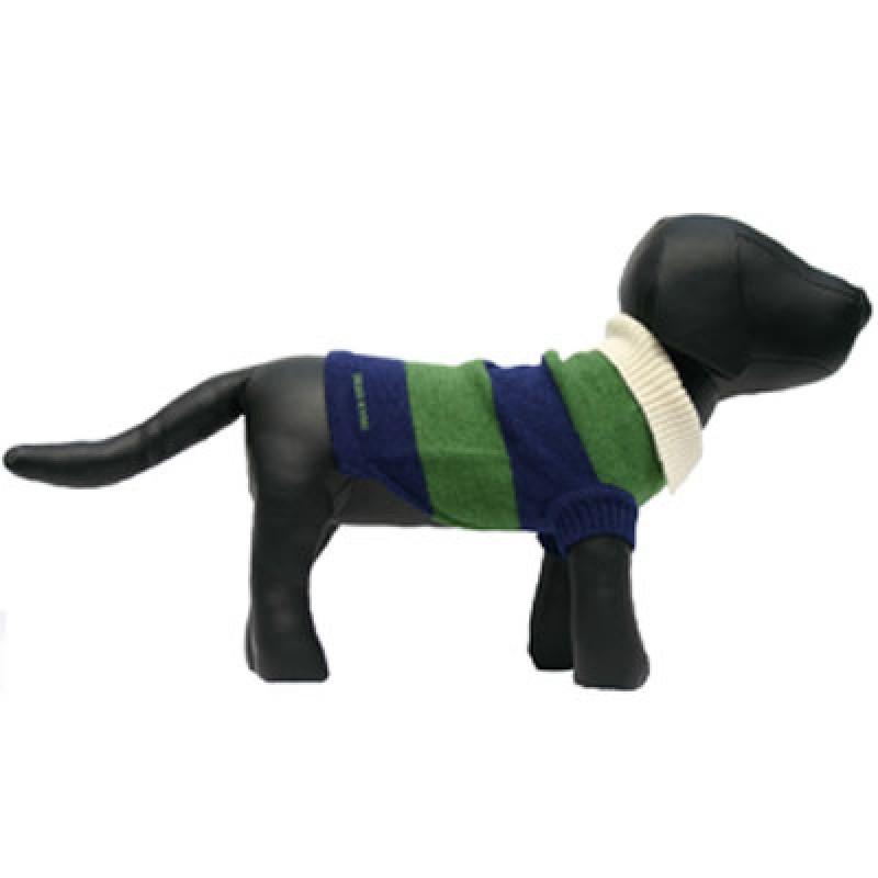 Green & Blue Rugby Stripe Dog Sweater