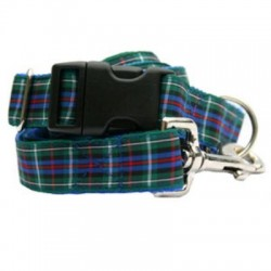 Green Plaid Collar & Leash