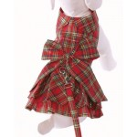 Holiday Red Plaid Doggy Dress w/Harness and Leash!