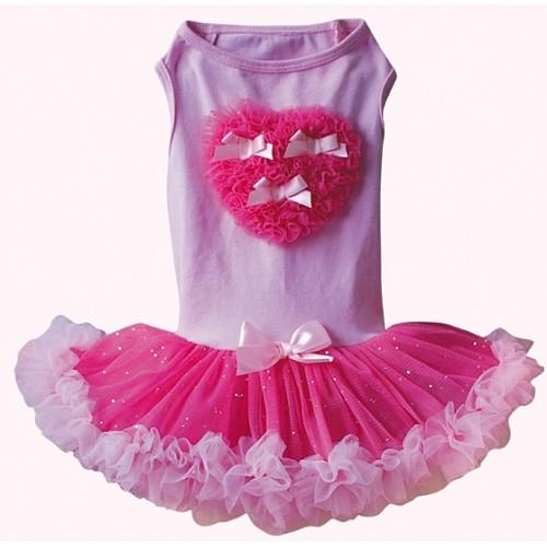 Hot Pink Ruffle Heart on Pink Petti Dog Dress