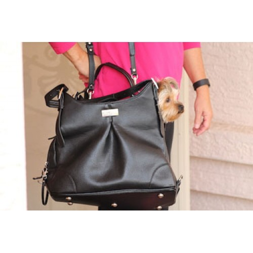 Mia Michelle - Sadie Black Faux Pebble Leather Carry Bag