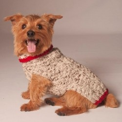 Oatmeal Sweater with Red Trim