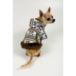 Olive Lightweight Hoodie Back Pocket W/Fur Trim for Dogs