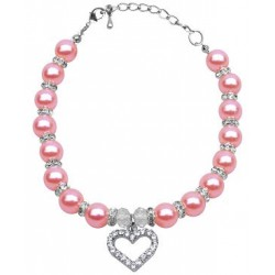 Pearl & Heart Doggy Necklace - Several Colors to Choose From!