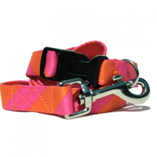 Pink & Orange Rugby Stripe Collar, Lead & Harness