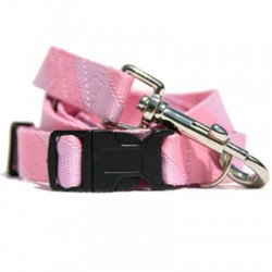 Pink & Pink Rugby Stripe Collar, Lead & Harness