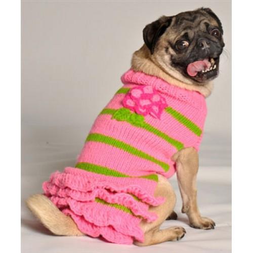 Pink Flowered Skirt Dog Sweater