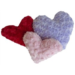 Plush Minky Heart Toy w/Squeaker Red/Pink/Lavender Soft Curly