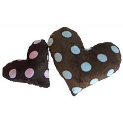 Plush Minky Heart Dog Toy w/Squeaker Pink/Blue Big Dots