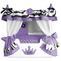 Purple Fifi Zebra Canopy Pet Bed