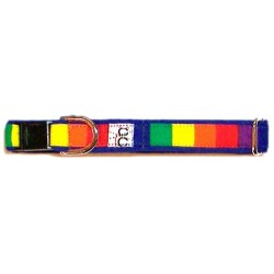 Rainbow on Blue Adjustable Cat Collar