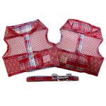 Red and Turquoise Plaid Cool Mesh Harness and Leash