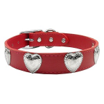 Beautiful Leather Dog Collar with Silver Hearts - available in 3 colors!
