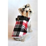 Red Plaid Step In Wrap Coat for Dogs with Adjustable Straps and D-Ring Connection