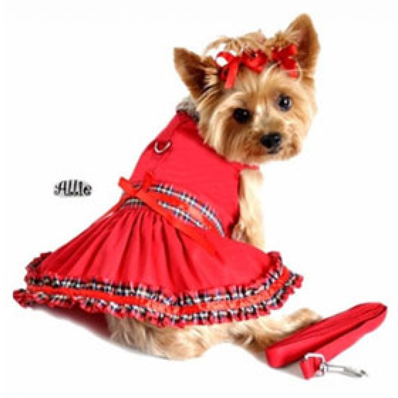 Red Tartan Plaid Dog Dress And Leash