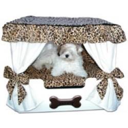 Cream Roxy Cheetah Canopy Pet Bed