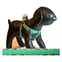 Shalimar Swirl Turquoise Adjustable Step-in Dog Harness