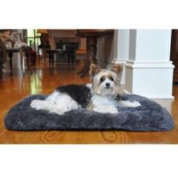 Slumber Minky Faux Fur Dog Cushion - Gray