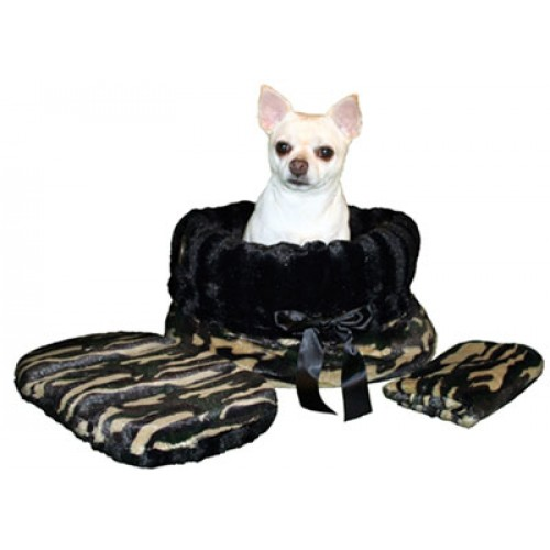 Snugglebug Pet Bed, Carrier and Car Seat in One - Camo and Black