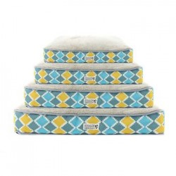 Blue, Gray, Yellow Diamond Soft N' Tuff Rectangular Pet Crate Bed
