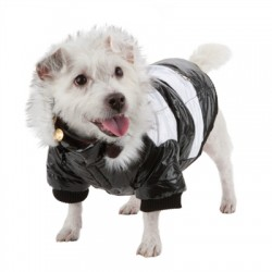 Stylish Black and White Parka for Dogs