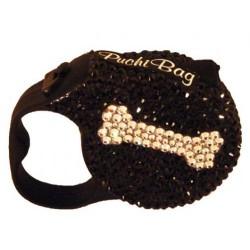 Swarovski Crystal Fashion Dog Leash - Caviar with Bone