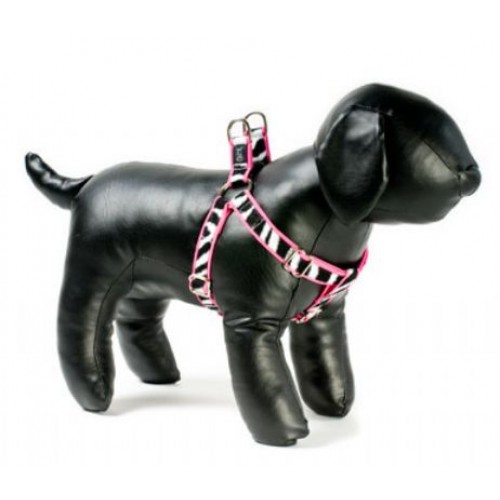 Zebra on Pink Adjustable Step-in Dog Harness