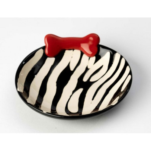 Red Zebra Buzz Dog Dish with Bone
