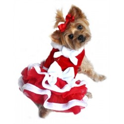 """White Christmas"" Santa Girl Velvet Dress"